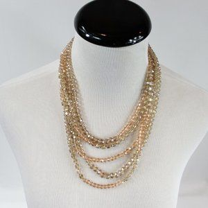 A New Day Beaded Multi-Strand Necklace Gold Tone